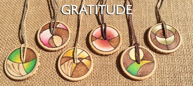 Gratitude Medallions. Hand made art by Wendy Hurd