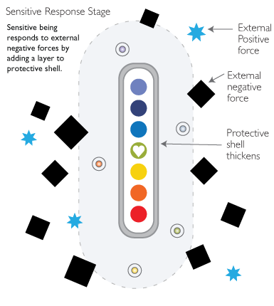 Illumination process protective shell thickens. A sensitive being in a hostile environment will add a layer to the protective shell unless changes are made.
