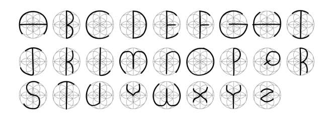 Every letter of the English alphabet contained within the Aligned with Life Symbol
